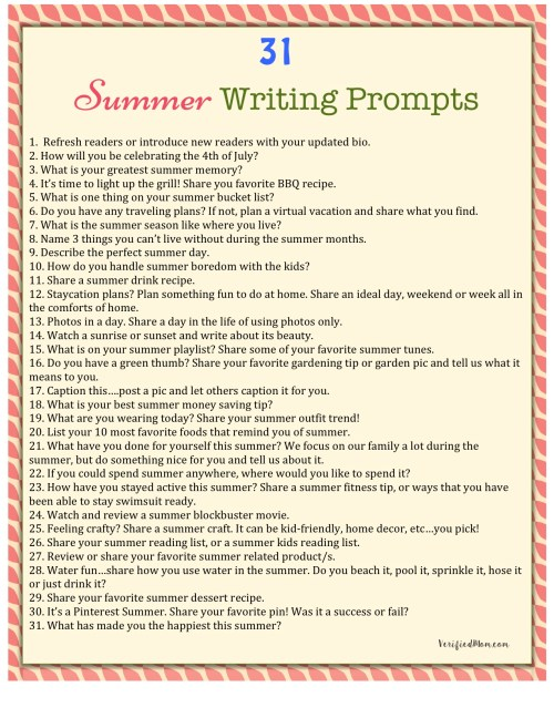 31 Summer Themed Writing Prompts
