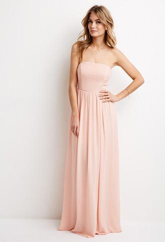 LOVE21 Women's Blush Strapless Chiffon Maxi Dress