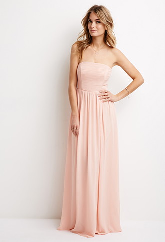 LOVE21 Women's Blush Strapless Chiffon Maxi Dress