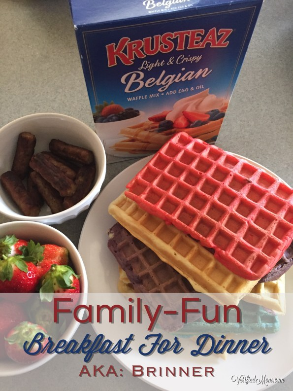 Family Fun Breakfast Dinner - making colorful waffles