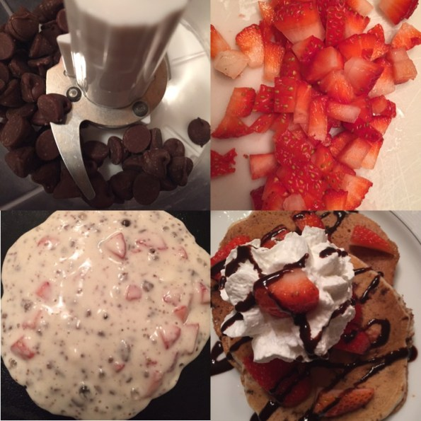 Quick Chocolate Covered Strawberry Pancakes