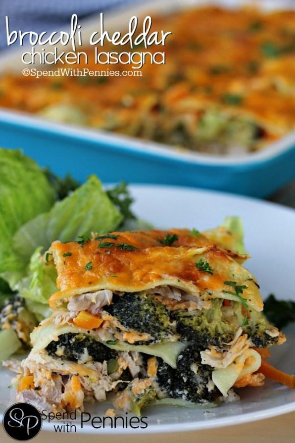 Broccoli Cheddar Chicken Lasagna
