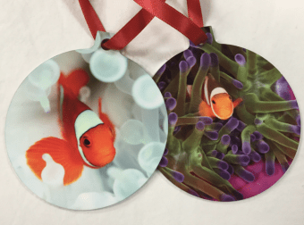 Double sided metal clownfish ornament from GugUnderwater.com