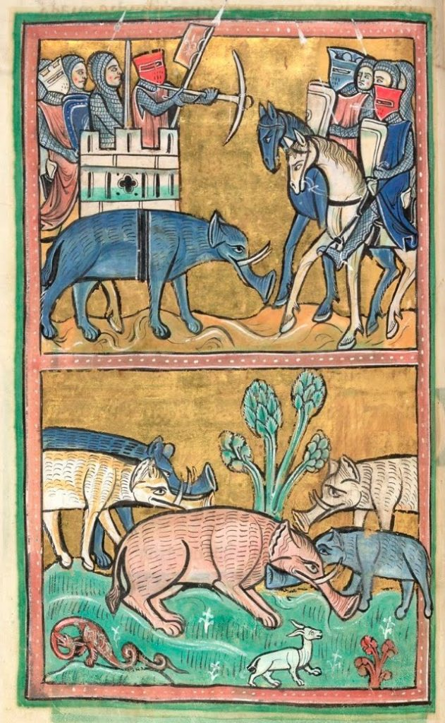 Hearsay elephant from the Rochester Bestiary (1225)