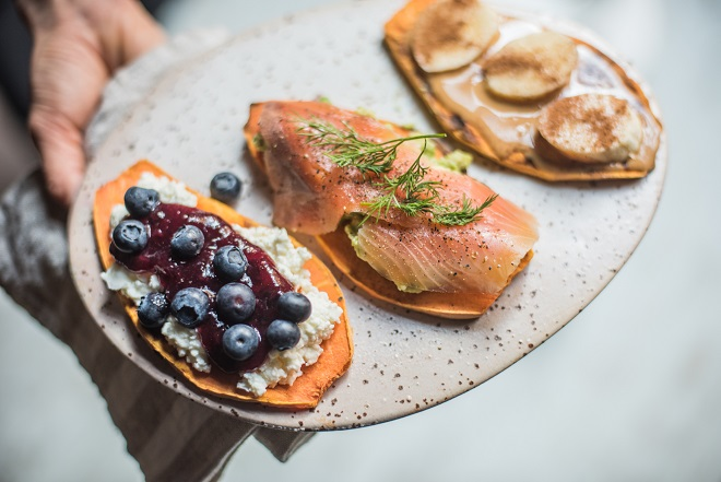 Tostadas de boniato con toppings - Recetas - Veritas