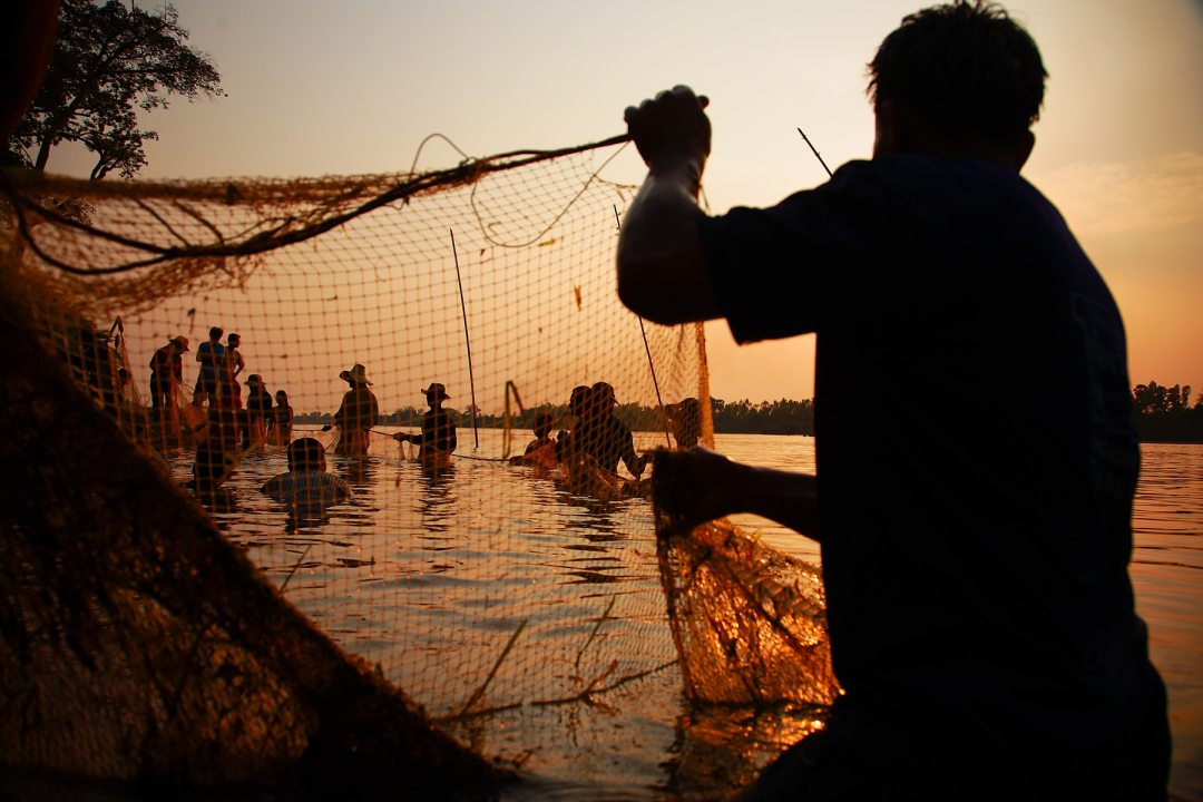 Fishermen cast their nets