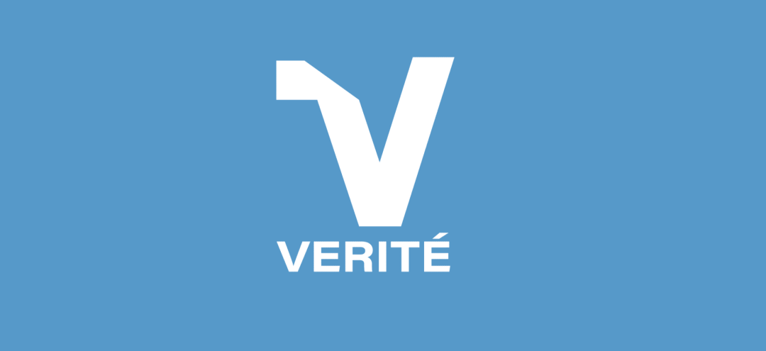 Verite Logo on Blue Background