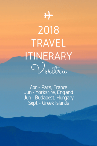 2018 Travel Itinerary