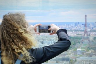 View from the Montparnasse Tower Panoramic viewing deck. Paris.