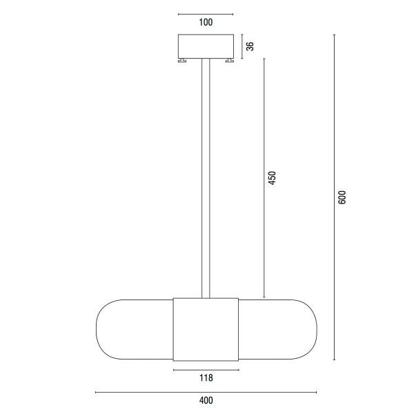 Ebolicht Pill 600 technische tekening - Verlichting van Toen