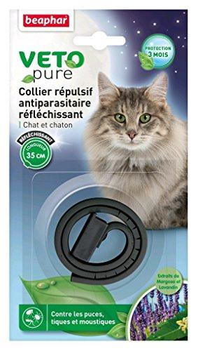 Beaphar – VETOpure, collier répulsif antiparasitaire réfléchissant – chat et chaton – noir