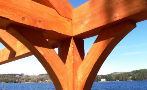 Hand Crafted Wood Hammer Beam Boat House On Lake Sunapee