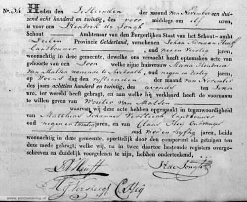 De geboorteakte Wouter van Malsen Heuff - '... aan welke hij verklaard heeft de voornaam te willen geven van Wouter van Malsen'