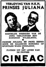 Advertentie voor een film over de verloving (Het Vaderland, 9 september 1936)