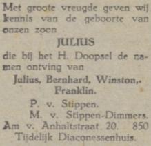 Julius Bernhard Winston Franklin van Stippen (Eindhovensch Dagblad, 21 oktober 1944)