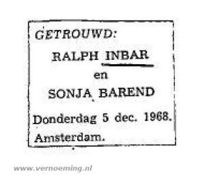 Huwelijksadvertentie Ralph Inbar en Sonja Barend (CBG)