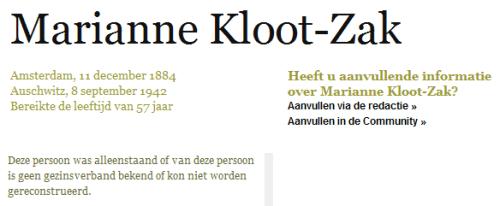 Marianne Kloot-Zak in het Digitaal Monument Joodse Gemeenschap in Nederland