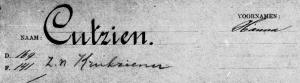 Fragment gezinskaart Hanna Cutzien z.n. Krukziener (bevolkingsregister Den Haag 1913-1939)