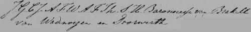 Handtekening J.G.C.J.A.F.W.A.F.Th.S.H. barones van Brakell van Wadenoijen en Doorwerth