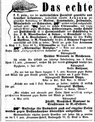 Siebenbürgisch-Deutsches Wochenblatt, 10 december 1873