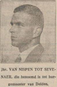 Niet de persoon in kwestie, maar een familielid: Leo Octave Marie van Nispen tot Sevenaer, burgemeester van Delden (Nieuwe Tilburgsche Courant, 23 november 1929)