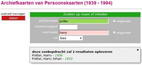 Harry Potter in het Amsterdamse persoonskaartenarchief