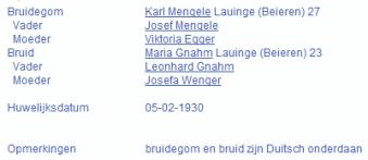De zoon van Josef Mengele trouwde in 1930 te Rotterdam (Digitale Stamboom)