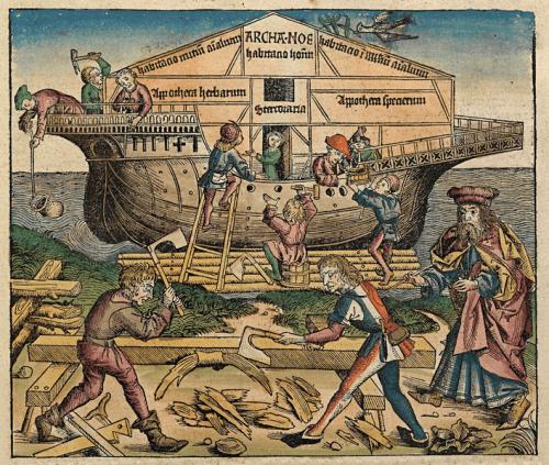 De bouw van de Ark van Noach (Hartmann Schedel, Kroniek van Neurenberg, 1493)