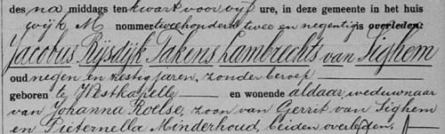 Fragment van de overlijdensakte van Jacobus Rijsdijk Takens Lambrechts van Sighem, overleden Middelburg 14 november 1921, zoon van Gerrit van Sighem en Pieternella Minderhoud