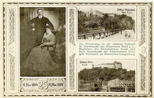 Ansichtkaart ter gelegenheid van het 25-jarig huwelijk van erfprins Heinrich XXVII Reuss en prinses Elise van Hohenlohe-Langenburg in 1909