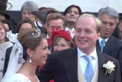 Prins Carlos en zijn vrouw Annemarie Gualthérie van Weezel bij hun huwelijk