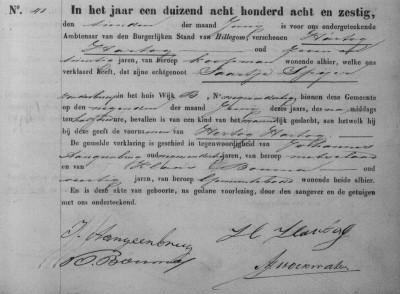Geboorteakte Hertog Hartog Hartog, zoon van Hartog Hartog en Saartje Spijer