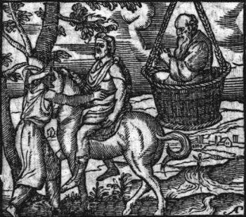 Een scène uit Aristophanes' Wolken: Strepsiades discussieert met zijn zoon Pheidippides terwijl Socrates er in een mandje bij hangt (Emblemata et aliquot nummis antiqui operis, cum emendatione et auctario copioso ipsius autoris, Joannes Sambucus, 1564)