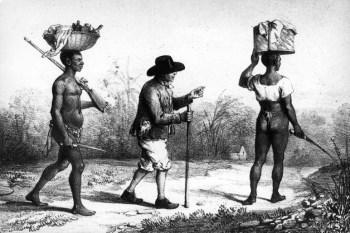 Slavendrijver en twee slaven op weg naar de plantage in Suriname,  1840, maker onbekend.