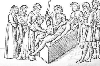 De geboorte van Julius Caesar in een uitgave van Suetonius' De twaalf Caesars uit 1506.
