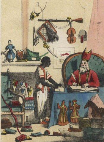 Sint-Nicolaas en zijn knecht in het boek van Jan Schenkman.