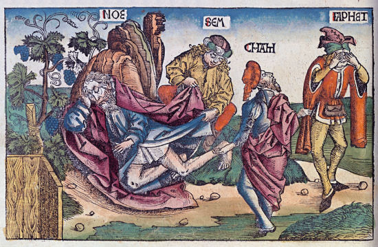 Noach met zijn zoons Sem, Cham en Jafet (Kroniek van Neurenberg)
