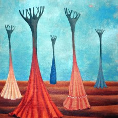 """Meeting  11x14""""  Acrylic on canvas, 2006  SOLD"""
