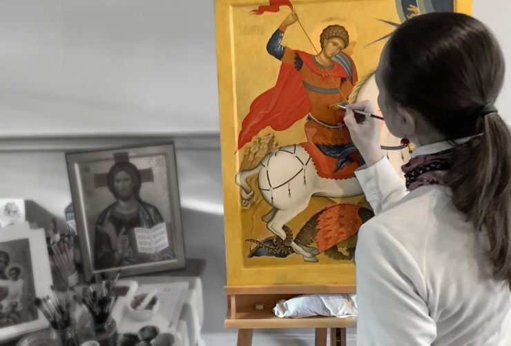 Drawing and painting a genuine Christian Icon with traditional techniques.