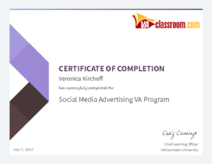 Social Media Advertising VA Certification