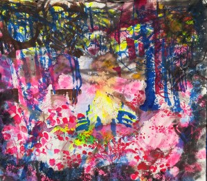 """Veronica Reeves, Little Song, 2015, acrylic, latex, and spraypaint on raw canvas, 74""""w x 74""""h"""