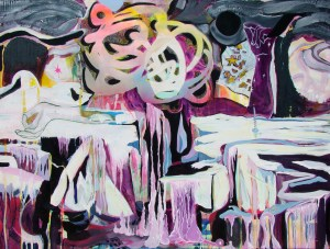 """Veronica Reeves, Mercury Maker, 2016, acrylic and spray paint on canvas, 48"""" x 36"""""""