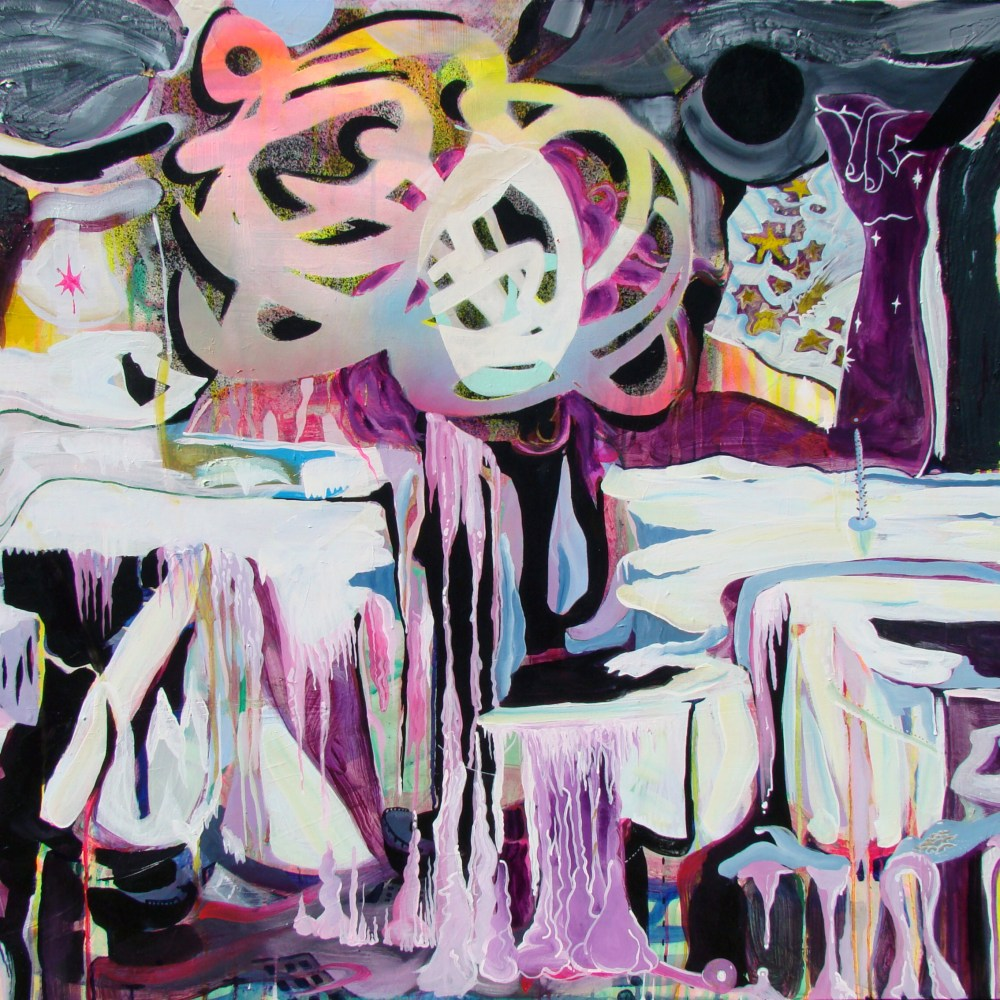 "Veronica Reeves, Mercury Maker, 2016, acrylic and spray paint on canvas, 48"" x 36"""