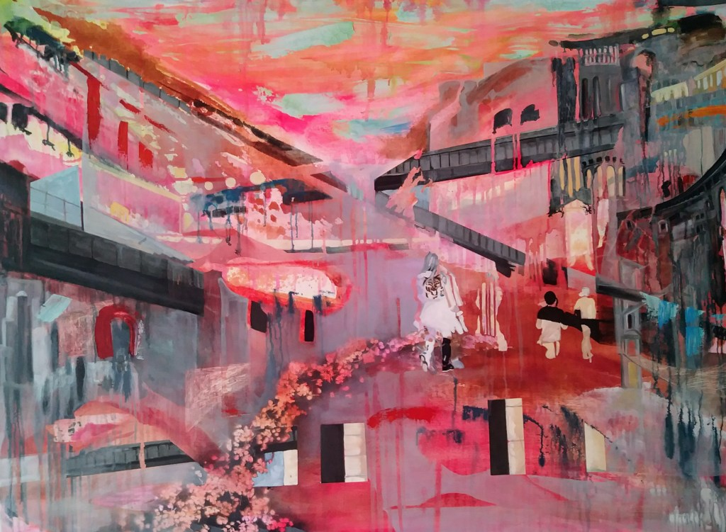 """We went back to look for it., 2015, acrylic and oil on linen, 65"""" x 48"""""""