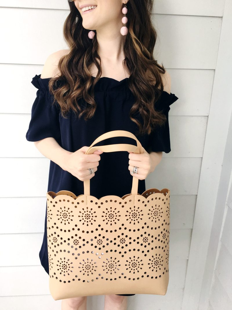 6a9cd49e87147 I wore these fun new sandals and carried my favorite scalloped perforated  tote. Another tote that s a really similar style is 40% off right now and  I m ...