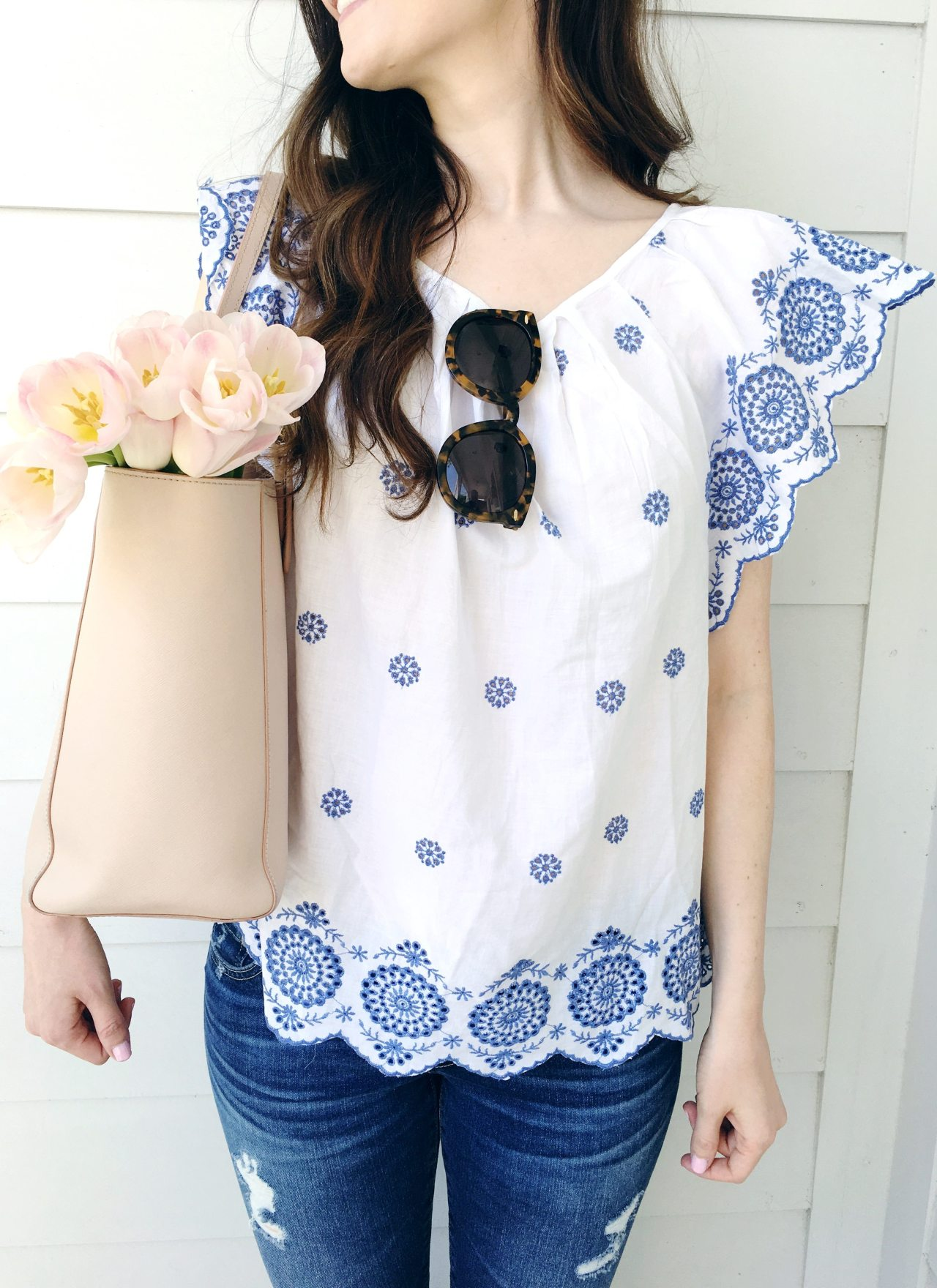Blue & White Embroidered Top