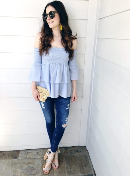 Smocked & Ruffled Off-The-Shoulder Top