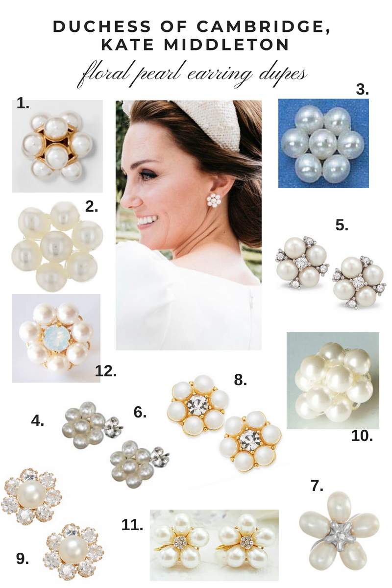 Duchess of Cambridge Kate Middleton Floral Pearl Earring Dupes