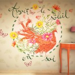 ©Véronique Milioni, Motif Avoir le Soleil en Soi Vert, La Marque, créatrice de papiers-peints pour les besoins des architectes et décorateurs d'intérieurs, hôtels et restaurants haut de gamme, boutique de luxe, univers du zen et du développement personnel