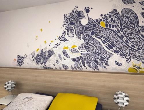 ©Véronique Milioni, Motif Aller voir la Mer Bleu, La Marque, créatrice de papiers-peints pour les besoins des architectes et décorateurs d'intérieurs, hôtels et restaurants haut de gamme, boutique de luxe, univers du zen et du développement personnel